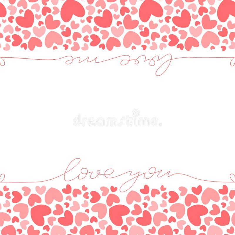 桃红色心脏横幅模板 库存例证