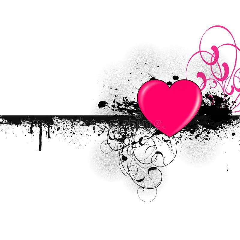 桃红色心脏横幅 库存例证