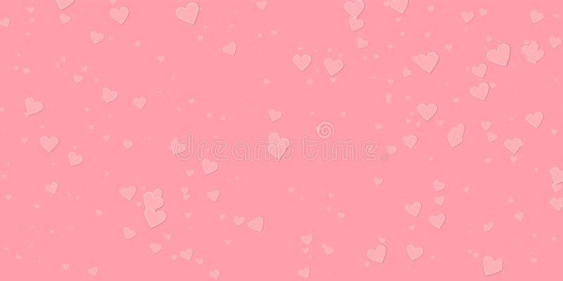 桃红色心脏爱五彩纸屑 情人节落 向量例证