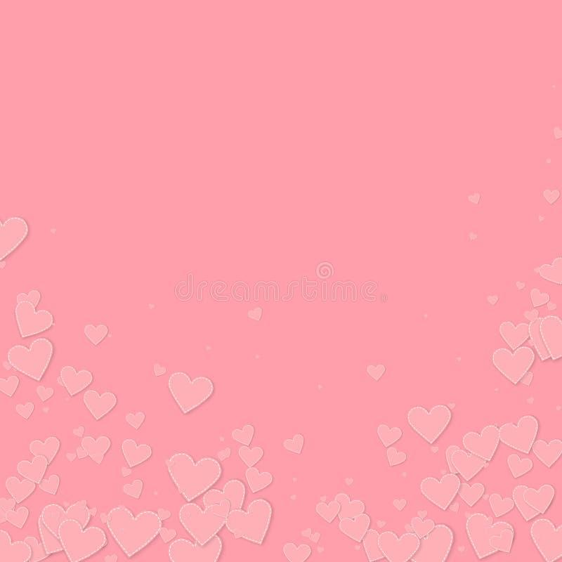 桃红色心脏爱五彩纸屑 情人节落 皇族释放例证