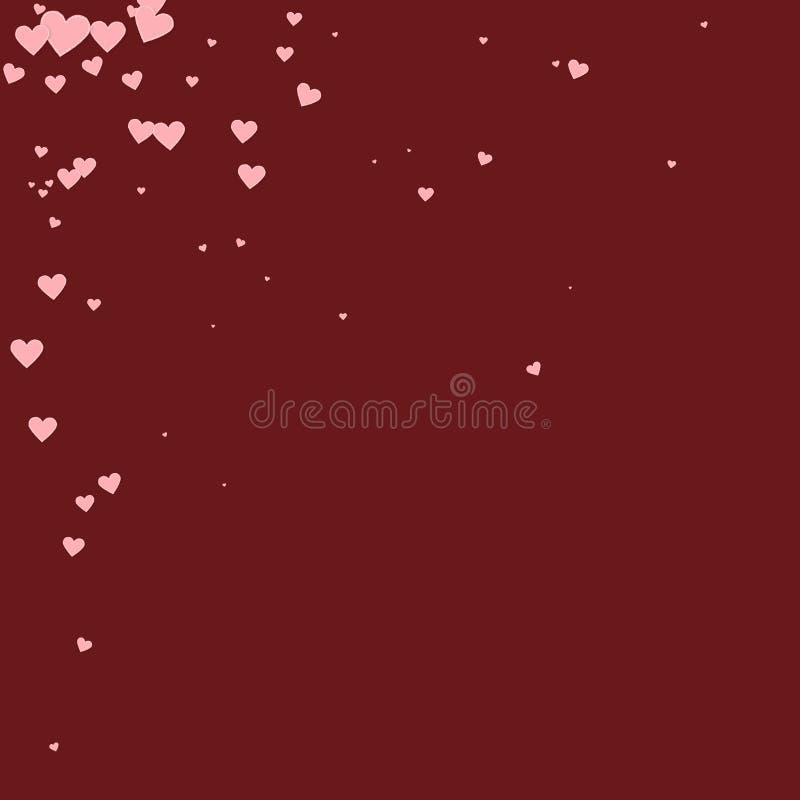 桃红色心脏爱五彩纸屑 情人节角落 库存例证