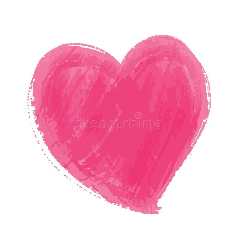 桃红色心脏被绘的水彩传染媒介例证,被隔绝的手拉的心脏,剪影为为情人节 皇族释放例证