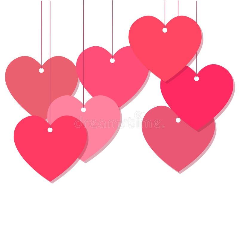 桃红色心脏装饰传染媒介 免版税库存照片