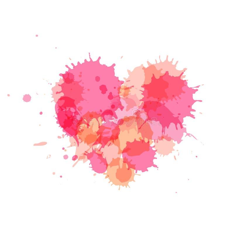 桃红色心脏,您的设计的传染媒介元素 库存例证