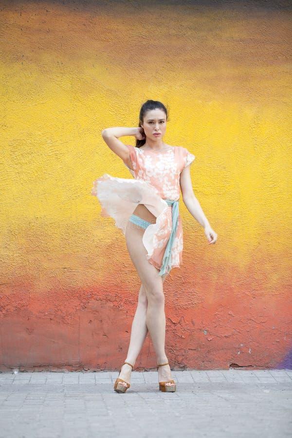 桃红色性感的礼服的少妇 免版税库存图片