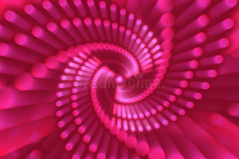 桃红色抽象背景,抽象形式,螺旋 库存例证