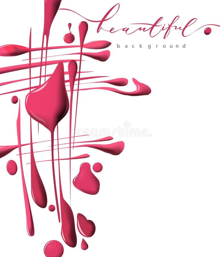 桃红色指甲油下落  秀丽和化妆用品背景 查出在白色 向量 向量例证