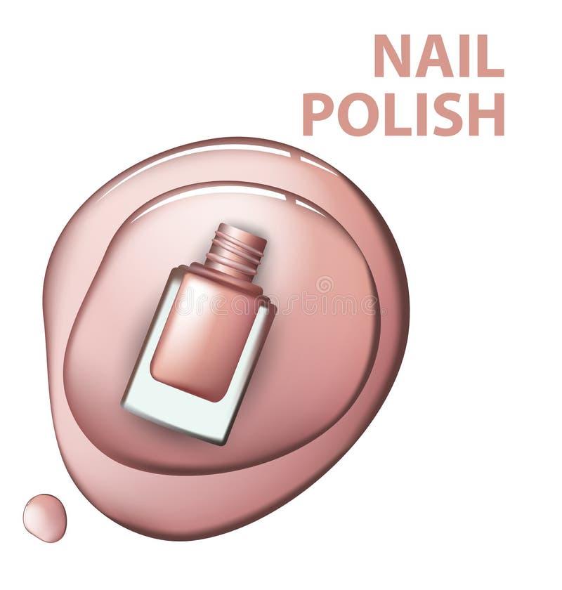 桃红色指甲油顶视图在白色背景化妆用品和时尚背景传染媒介的 库存例证