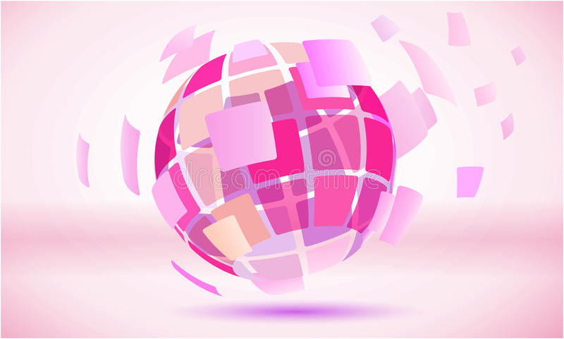 桃红色摆正了抽象地球球形标志 库存例证