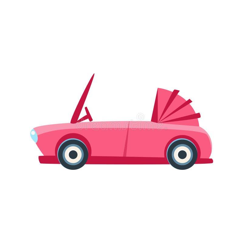 桃红色敞蓬车玩具逗人喜爱的汽车象 库存例证