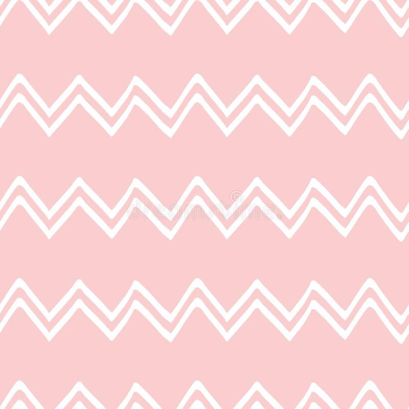 桃红色无缝的样式之字形zaggeometric桃红色装饰背景婴儿送礼会甜女孩背景 库存例证