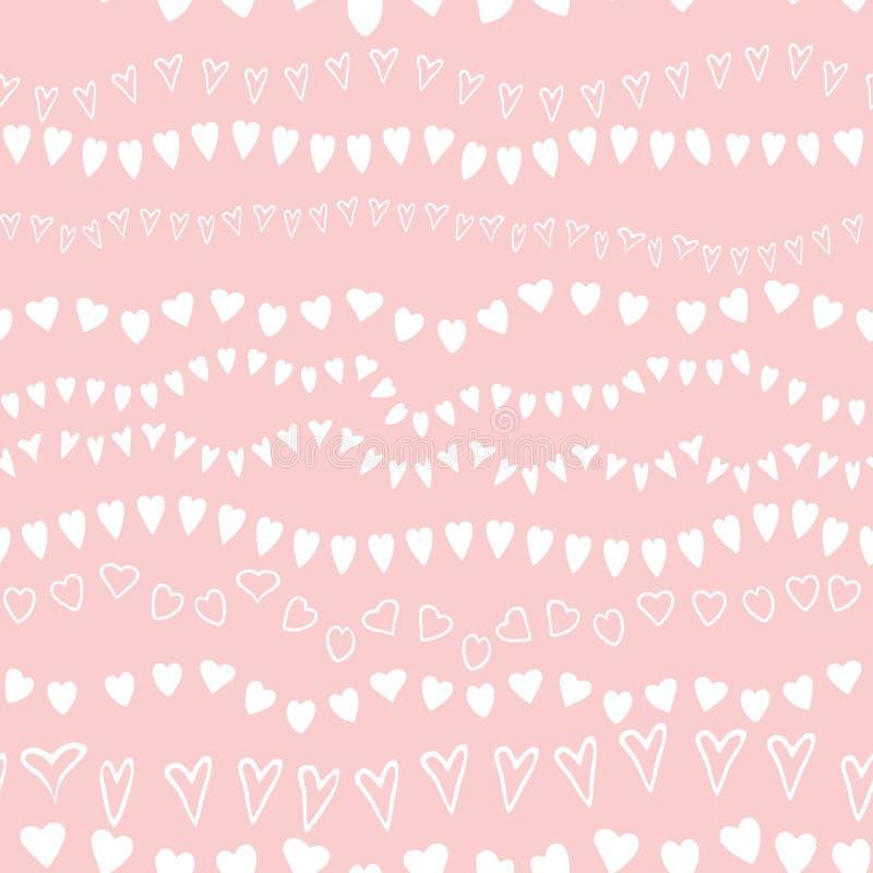 桃红色无缝的样式心脏几何桃红色装饰背景婴儿送礼会甜女孩背景 向量例证