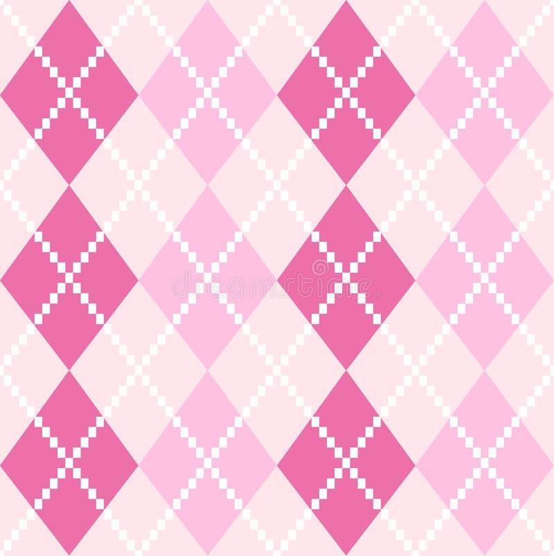 桃红色无缝的Argyle样式为情人节 库存例证
