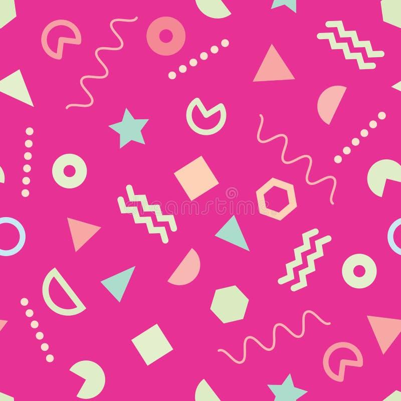 桃红色时髦与逗人喜爱的几何形状的孟菲斯样式无缝的样式 库存例证