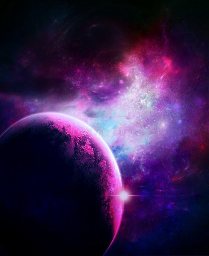桃红色星爆炸行星 库存例证