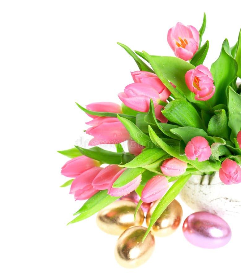 桃红色春天郁金香开花用发光的复活节彩蛋 库存照片