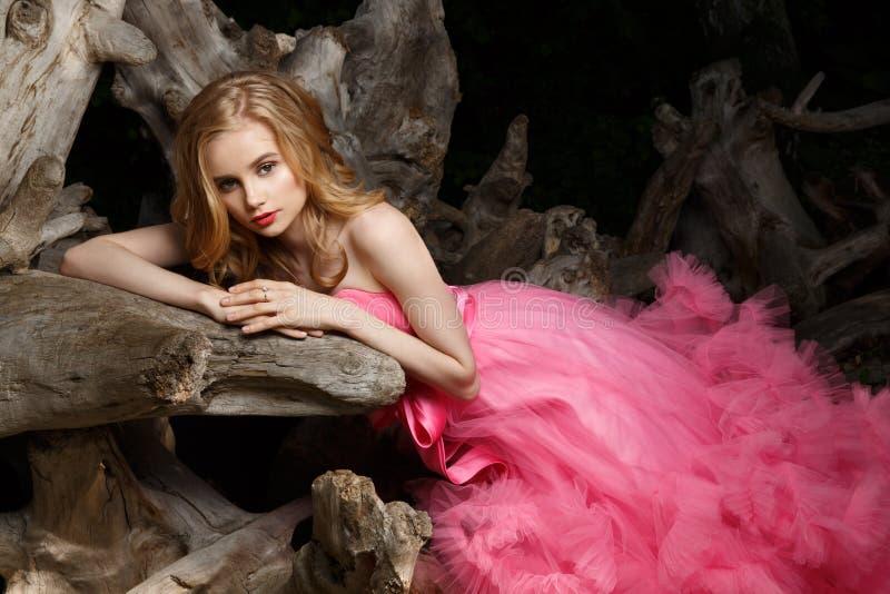 桃红色晚礼服的美丽的妇女与蓬松空中裙子在漂流木头的植物园里摆在 库存图片