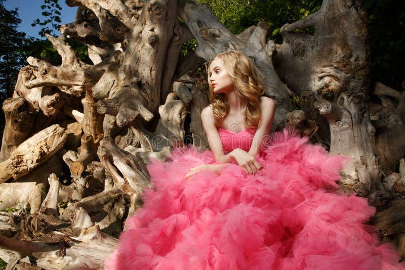 桃红色晚礼服的美丽的妇女与蓬松空中裙子在漂流木头的植物园里摆在 免版税图库摄影