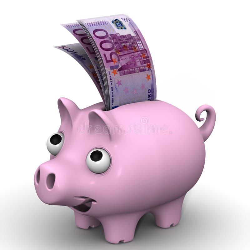 桃红色有欧洲货币的钞票的猪存钱罐 皇族释放例证