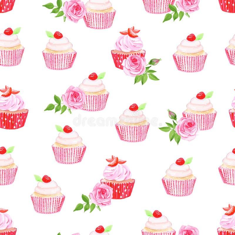 桃红色杯形蛋糕传染媒介无缝的样式 向量例证