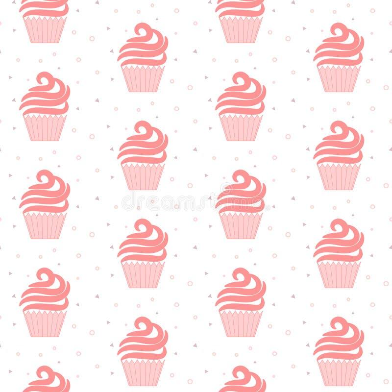 桃红色杯形蛋糕无缝的样式 美好的蛋糕纹理设计 向量例证