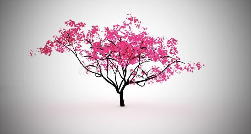 桃红色树 库存例证