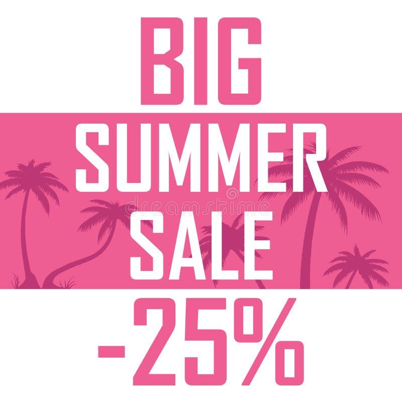 桃红色棕榈, 25%的大夏天销售 库存例证