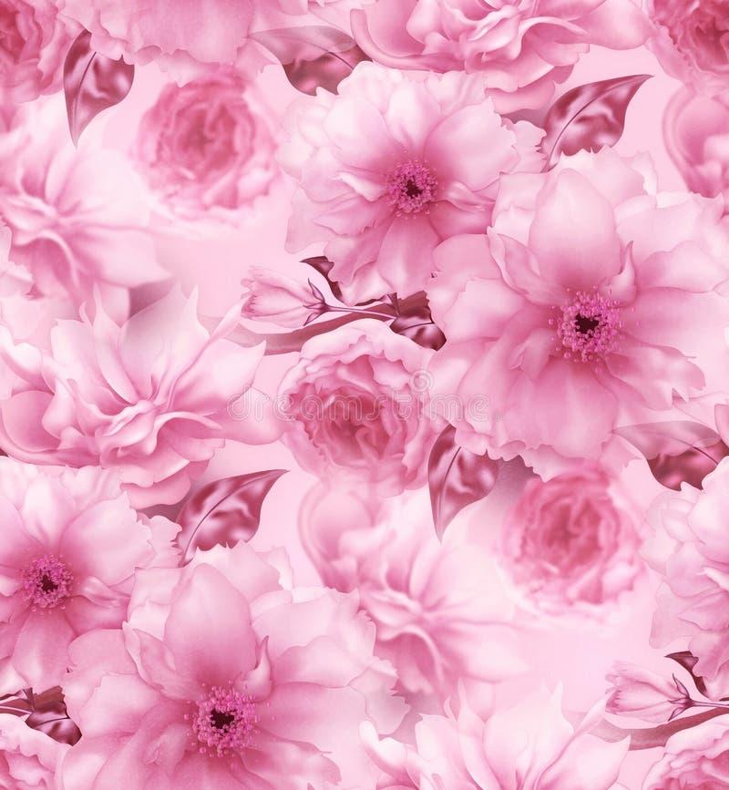 桃红色樱桃佐仓花花卉蓝色数字式艺术无缝的样式纹理背景 皇族释放例证