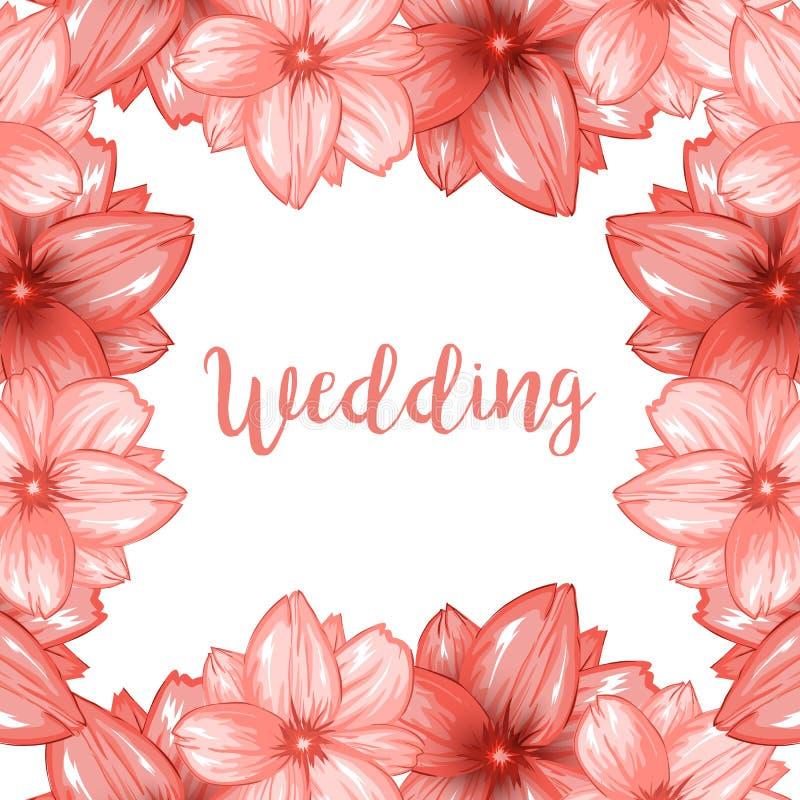 桃红色樱花或佐仓花框架的婚姻的设计 皇族释放例证