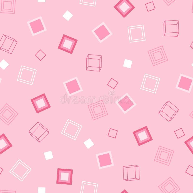 桃红色正方形的几何嫩无缝的样式在轻的Backd的 向量例证