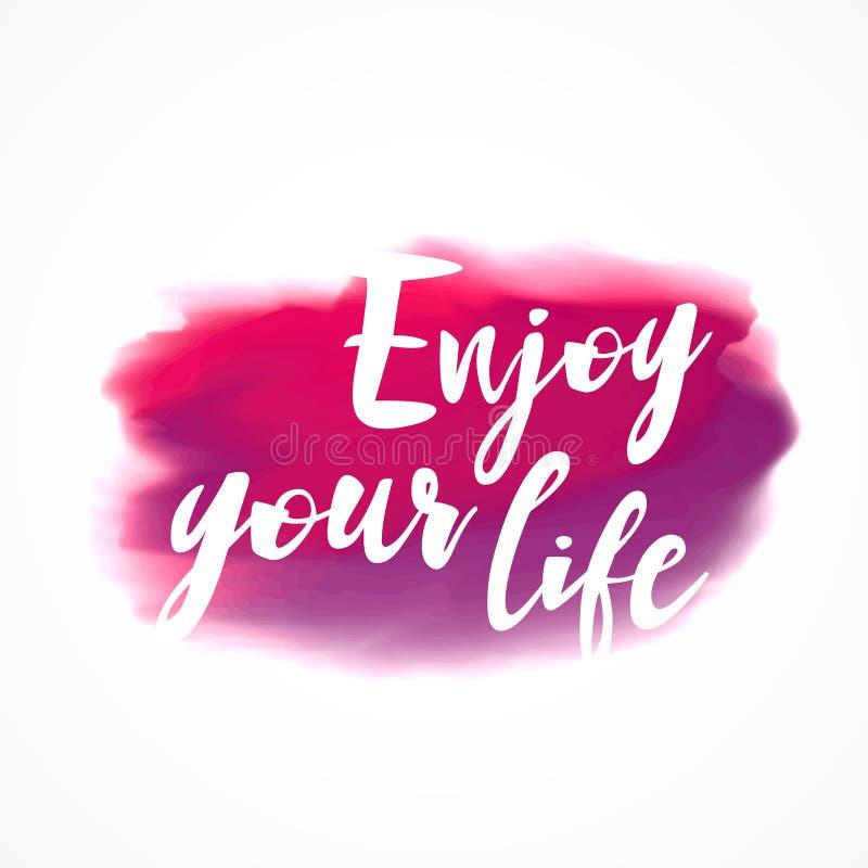 桃红色水彩墨水污点与享受您的生活消息 皇族释放例证