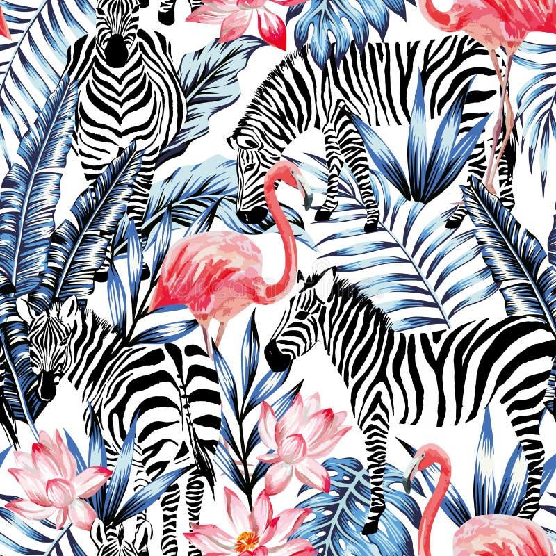 桃红色水彩火鸟、斑马和蓝色棕榈叶热带无缝的背景 向量例证