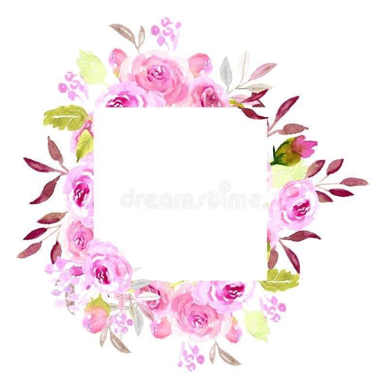 桃红色水彩花框架,正方形 库存照片