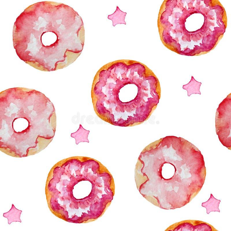 桃红色油炸圈饼和星n,卡片,邀请,纺织品的水彩无缝的样式 库存例证