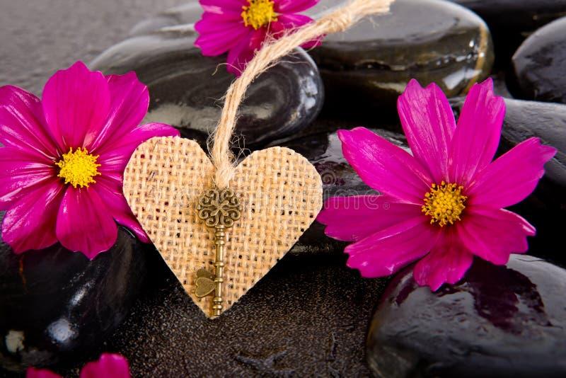 桃红色波斯菊花和粗麻布塑造与黄铜钥匙的心脏在bl 图库摄影