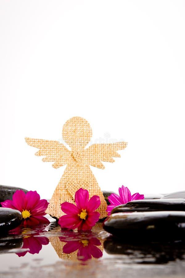 桃红色波斯菊花和粗麻布天使在黑按摩岩石塑造 免版税库存图片