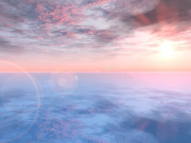 桃红色浪漫日落 向量例证