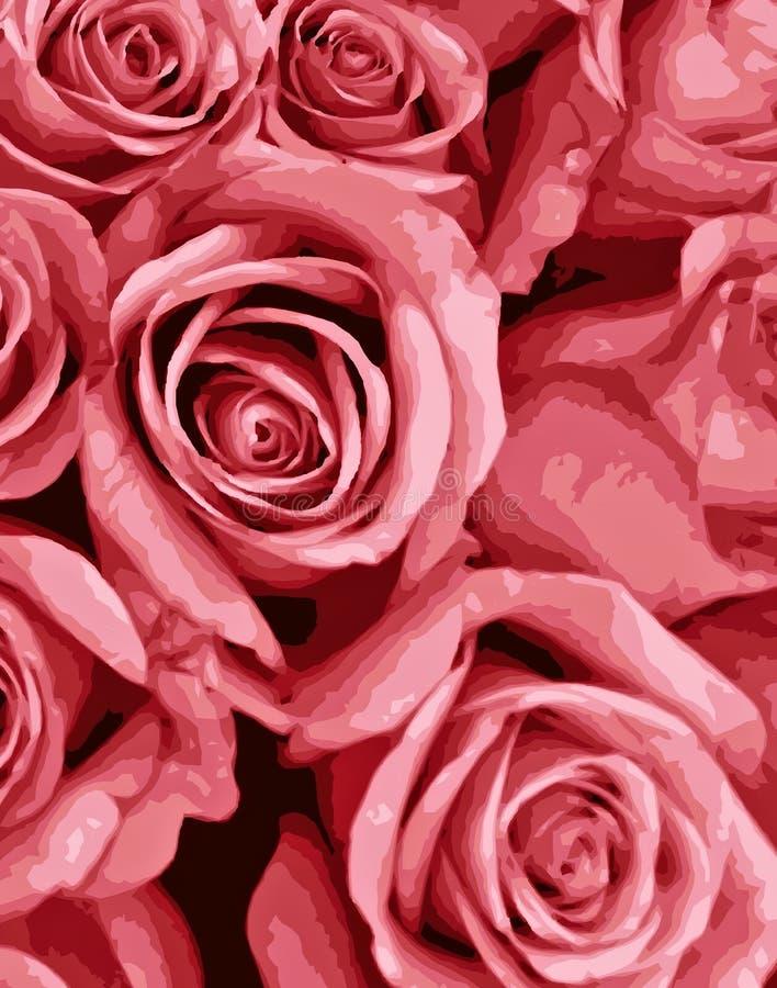 桃红色浪漫玫瑰 库存例证