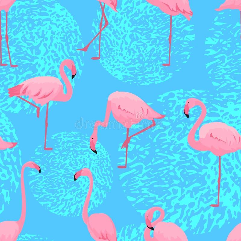 桃红色火鸟用不同的姿势 无缝的夏天热带样式 皇族释放例证