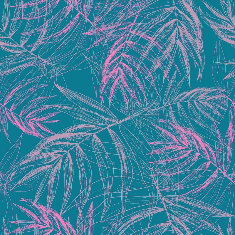 桃红色热带棕榈叶,在深绿蓝色背景的密林叶子无缝的花卉样式 向量例证