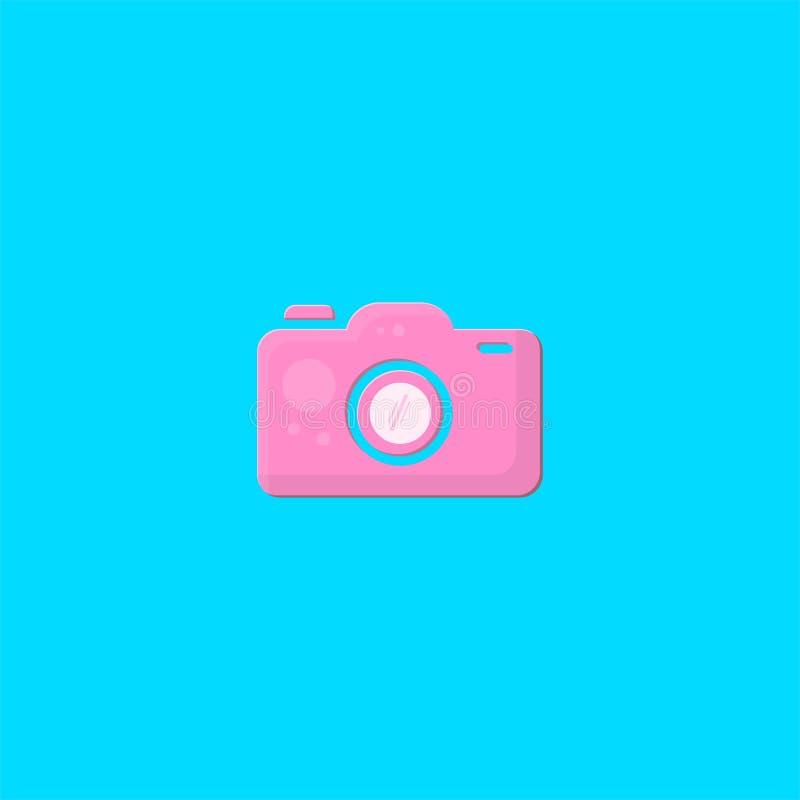 桃红色照相机商标设计 标志丹象传染媒介模板 向量例证