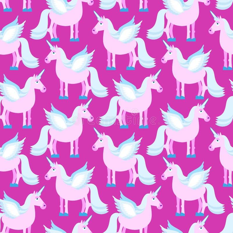 桃红色独角兽无缝的样式 在紫色backgr的意想不到的动物 向量例证