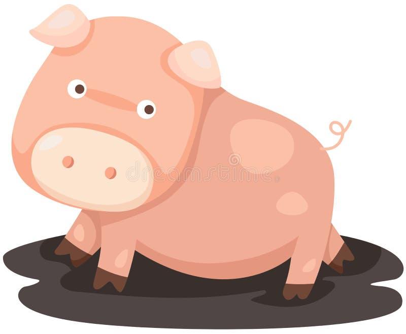桃红色猪 库存例证