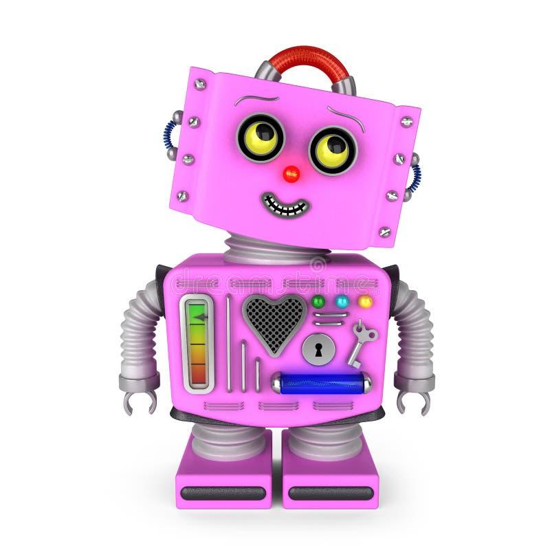 桃红色玩具机器人女孩朝右边看 库存例证