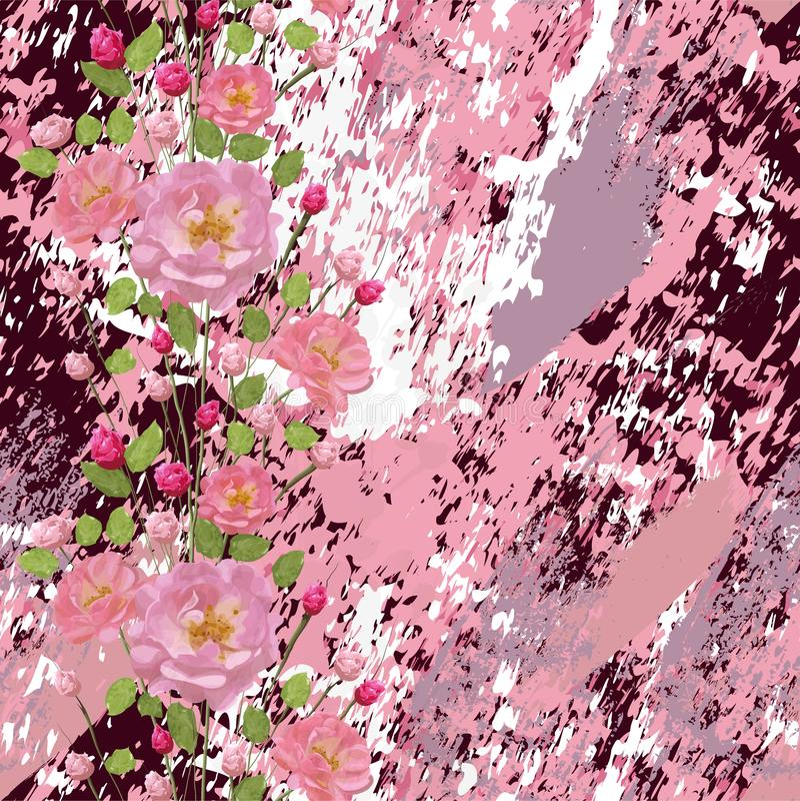 桃红色玫瑰与叶子和在织地不很细大理石背景 库存例证