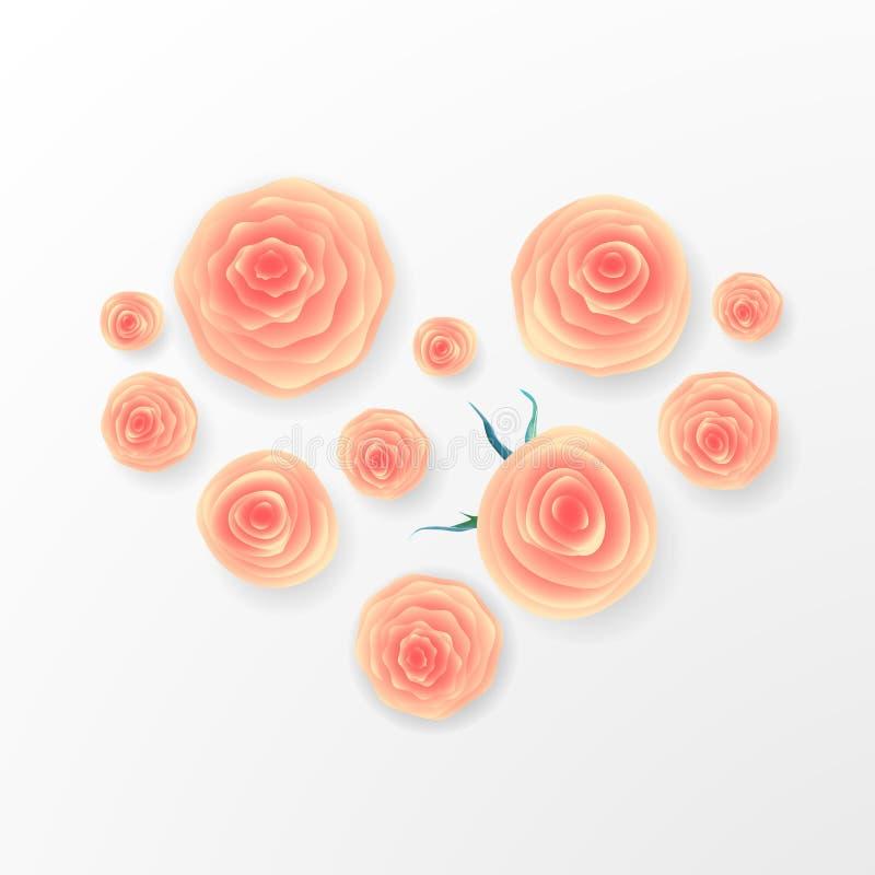 桃红色玫瑰和心脏构成在白色背景 重点查出的符号白色 浪漫背景 St华伦泰` s天, 8前进, W 皇族释放例证