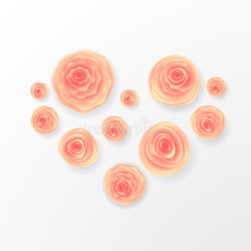 桃红色玫瑰和心脏构成在白色背景 重点查出的符号白色 浪漫背景 St华伦泰` s天, 8前进, W 库存例证