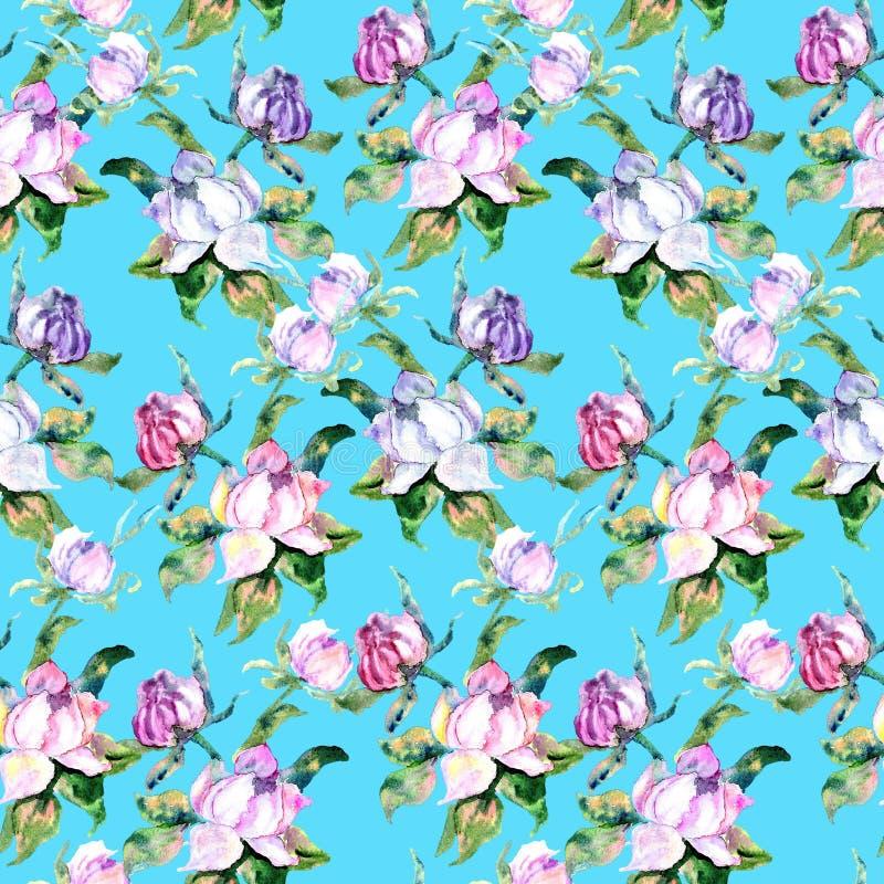 桃红色玫瑰和牡丹与绿色叶子在蓝色背景 无缝的模式 浪漫庭院开花例证 向量例证