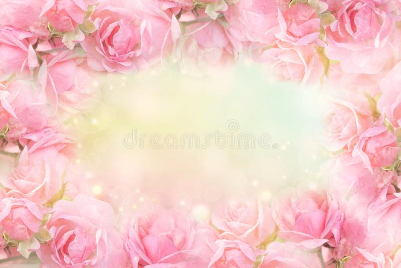 桃红色玫瑰在软的bokeh葡萄酒背景的花框架华伦泰的 免版税库存照片