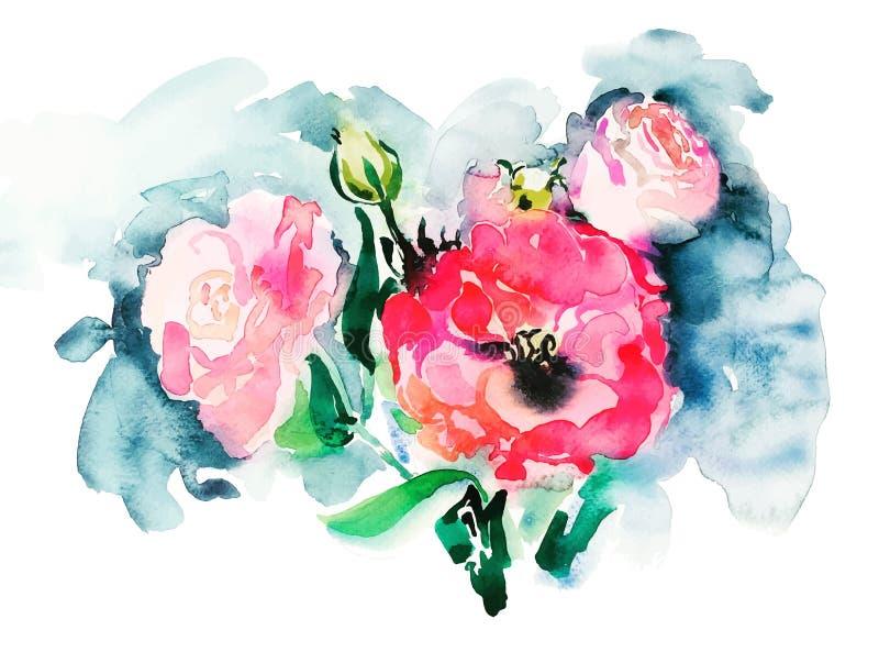 桃红色玫瑰手工制造水彩绘画,美丽的艺术品 库存例证